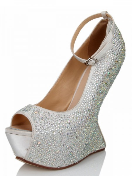Damen Wedge Heel Silk Peep Toe Mit Strasssteine Platform Wedges Shoes